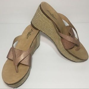 Lucky Brand Rose Gold Wedge Platform Espadrilles